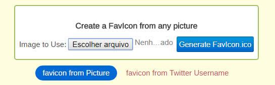 Tela do formulário para gerar favicon
